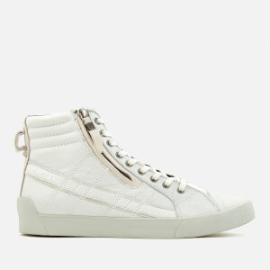 Diesel Men's D-String Plus Leather Hi-Top Trainers - White