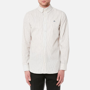 Vivienne Westwood MAN Men's Butcher Stripe 2 Button Krall Shirt - White