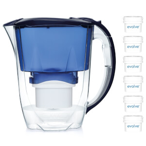 Aqua Optima 2.8L Blue Oria Water Filter Jug with 6 x 60 Day Evolve Filter Cartridges (12 Month Bundle)