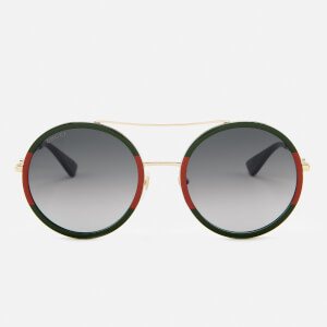 Gucci Women's Round Frame Sunglasses - Gold/Green