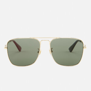 Gucci Men's Square Metal Frame Sunglasses - Gold/Green