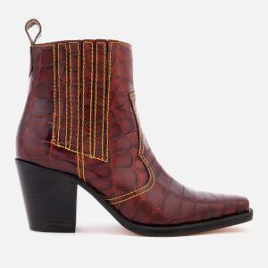 Ganni Women's Rosette Boots - Tortoise Shell