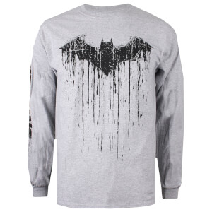DC Comics Men's Batman Paint Long Sleeved T-Shirt - Grey Marl