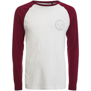 Brave Soul Men's Vermont Raglan Long Sleeve Top - White/Burgundy
