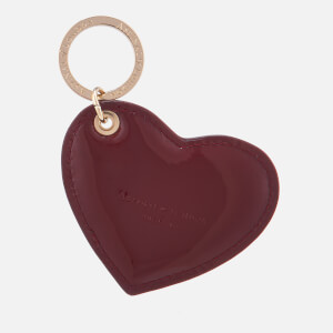 Aspinal of London Women's Patent Heart Keyring - Cherry