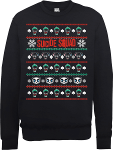 DC Comics Suicide Squad Harley Joker Panda Faces Black Christmas Sweatshirt