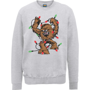 Star Wars Tangled Fairy Lights Chewbacca Grey Christmas Sweatshirt