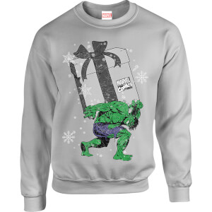 Marvel Comics The Incredible Hulk Christmas Present Grey Christmas Sweatshirt