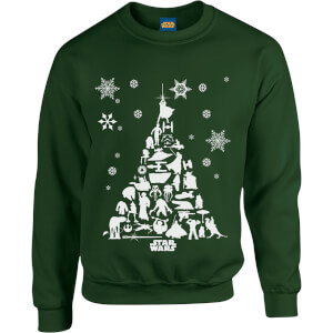 Star Wars Character Christmas Tree Green Christmas Sweatshirt