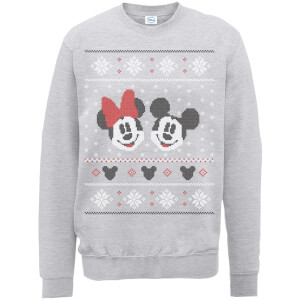 Disney Mickey Mouse Christmas Mickey And Minnie Grey Christmas Sweater