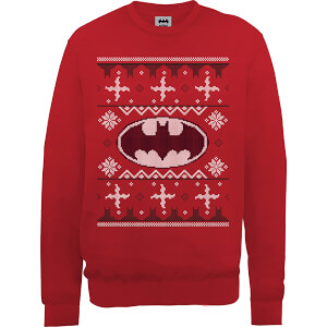 DC Batman Christmas Knit Logo Red Christmas Sweater