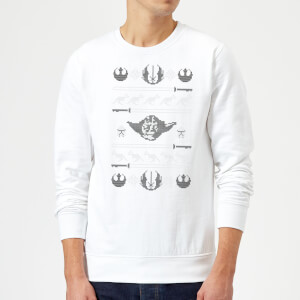 Star Wars Yoda Sabre Knit White Christmas Sweater