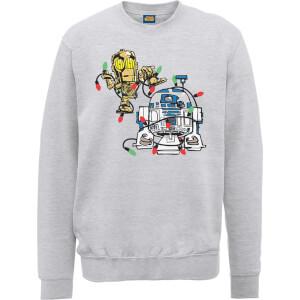 Star Wars Tangled Fairy Lights Droids Grey Christmas Sweatshirt