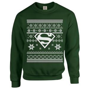 DC Comics Originals Superman Knit Green Christmas Sweatshirt