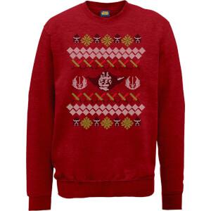 Star Wars Yoda Sabre Knit Red Christmas Sweatshirt