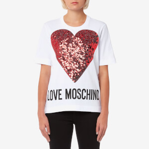 Love Moschino Women's Glitter Large Heart T-Shirt - White