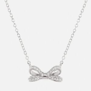Ted Baker Women's Olessi: Mini Opulent Pavé Bow Pendant - Silver/Crystal