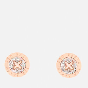 Ted Baker Women's Eisley Enamel Mini Button Earrings - Rose Gold/Silver Glitter - Rose Gold