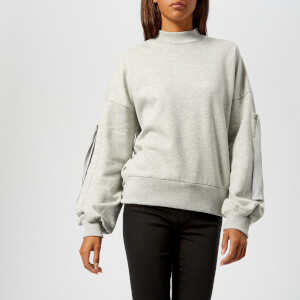 Gestuz Women's Galica Pullover Sweatshirt with Sleeve and Stud Detail - Grey Melange
