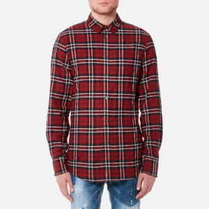 Dsquared2 Men's Wired Collar Check Shirt - Red/Blue