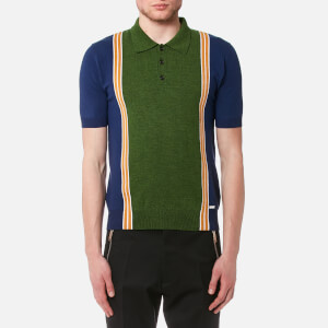 Dsquared2 Men's 3 Button Striped Knitted Polo Shirt - Blue/White/Ocre