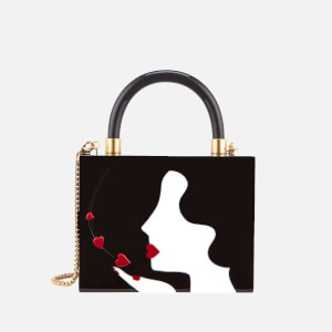 Lulu Guinness Women's Chloe Kissing Cameo Top Handle Bag - Black