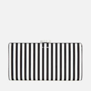 Lulu Guinness Women's Stripe Leather Frame Purse - Black/Chalk