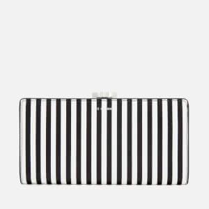 Lulu Guinness Women's Stripe Leather Frame Purse - Black/Chalk