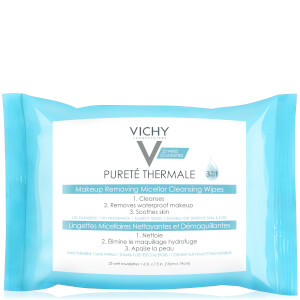 Vichy Pureté Thermale 3-in-1 Micellar Cleansing Water Makeup Remover Wipes with Vitamin E 13.52 fl. oz
