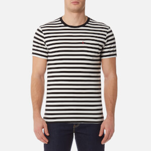 Levi's Men's Short Sleeve Set-In Sunset Pocket Shirt - Cooler Stripe Black/Marshmallow