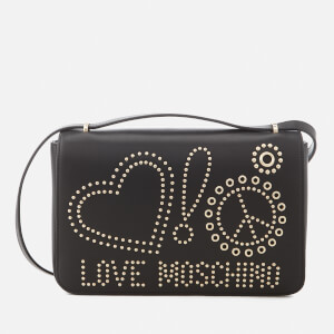 Love Moschino Women's Studded Logo Cross Body Bag - Black