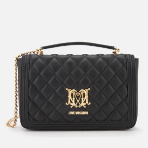 Love Moschino Women's Quilted Logo Cross Body Bag - Black