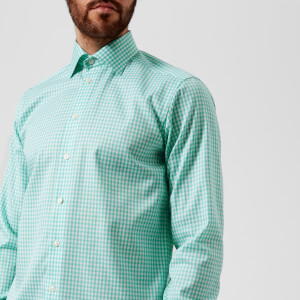 Eton Men's Contemporary Fit Extreme Cut Away Gingham Check Shirt - Light Green