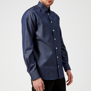 Eton Men's Contemporary Fit Pin Dot Under Collar Shirt - Navy