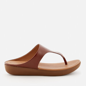 FitFlop Women's Banda II Leather Toe Post Sandals - Cognac