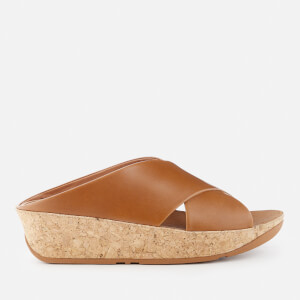 FitFlop Women's Kys Slide Leather Sandals - Caramel