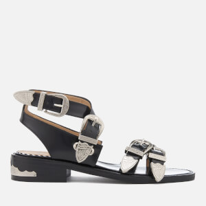 Toga Pulla Women's Leather Strappy Flat Sandals - Black