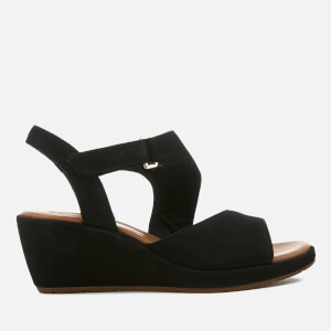 Clarks Women's Un Plaza Sling Leather Wedged Sandals - Black