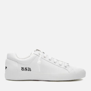 Ash Women's Nirvana Tumbled Leather Zip Front Low Top Trainers - White/Black