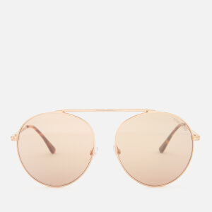Tom Ford Women's Simone Aviator Style Sunglasses - Rose Gold/Brown Mirror