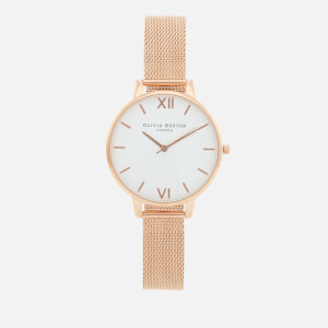 Olivia Burton Women's Big Dial White Dial Watch - Rose Gold Mesh