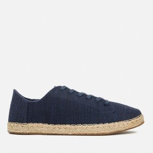 TOMS Women's Lena Canvas Lace Up Espadrilles - Navy Slubby