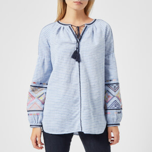 Joules Women's Yolanda Long Sleeve Embroidered Shirt - Light Blue Steel