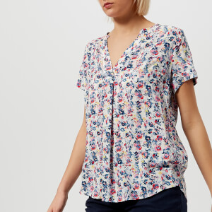 Joules Women's Iona Short Sleeve Blouse - Cream Garden Ditsy
