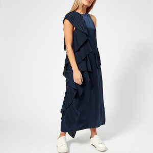 KENZO Women's Cupro Pleated Long Dress - Navy