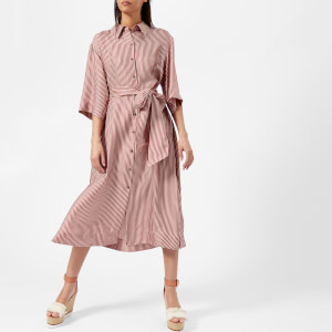 Diane von Furstenberg Women's 3/4 Sleeve Belted Shirt Dress - Emory Stripe Bordeaux