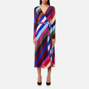 Diane von Furstenberg Women's Midi Woven Wrap Dress - Carson Stripe Black/Multi