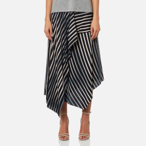 Diane von Furstenberg Women's Draped Asymmetric Midi Skirt - Whiston Black