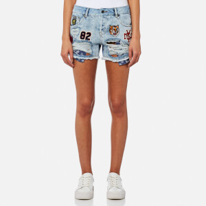 Superdry Women's Steph Badged Boyfriend Shorts - Frost Blue