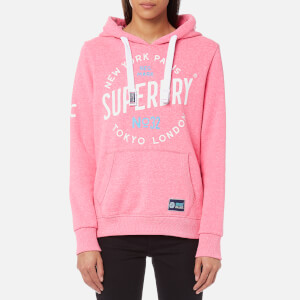Superdry Women's City of Dreams Hooded Sweatshirt - Fluro Pink Snowy